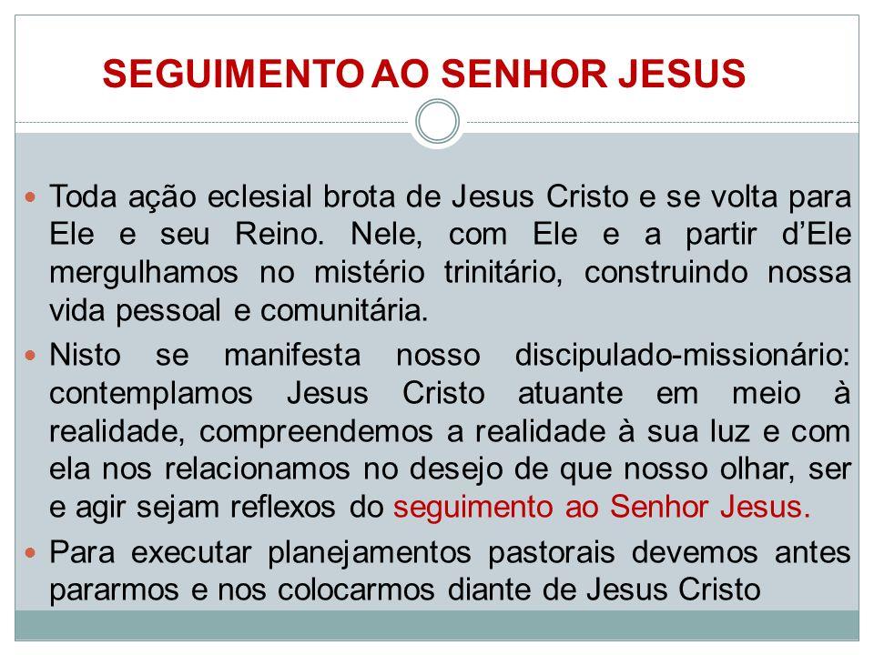 Toda ação eclesial brota de Jesus Cristo e se volta para Ele e seu Reino. Nele, com Ele e a partir dEle mergulhamos no mistério trinitário, construind