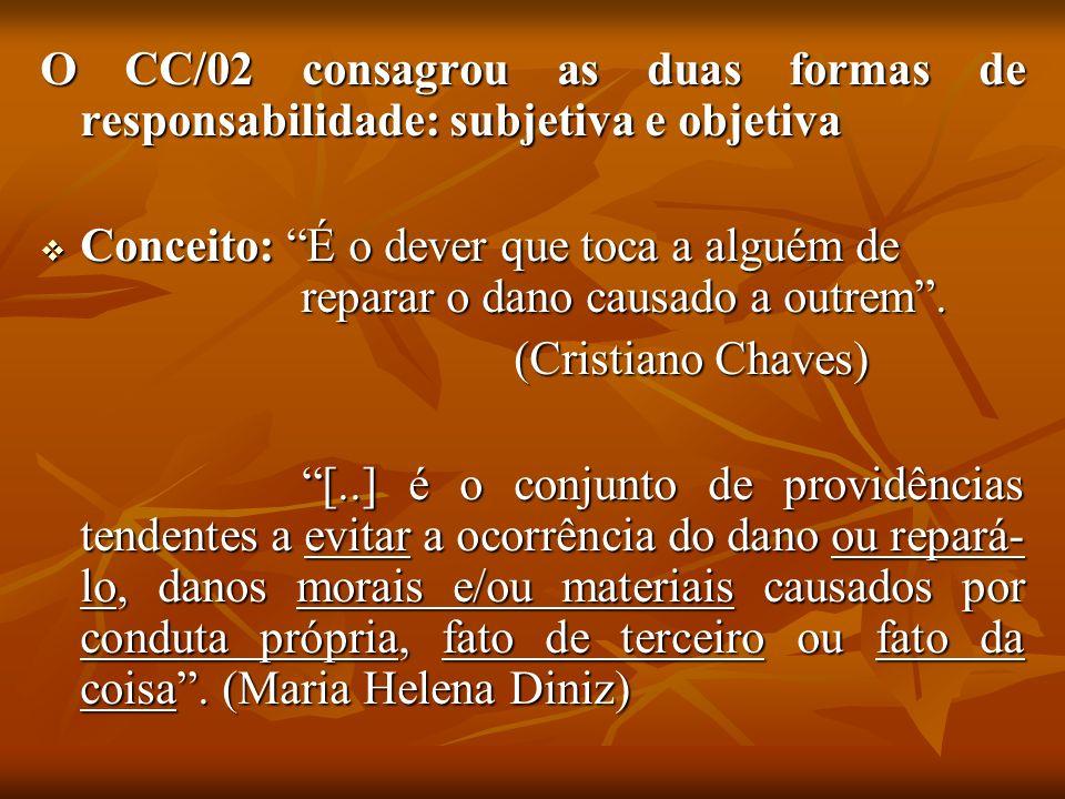 O CC/02 consagrou as duas formas de responsabilidade: subjetiva e objetiva Conceito: É o dever que toca a alguém de reparar o dano causado a outrem. C