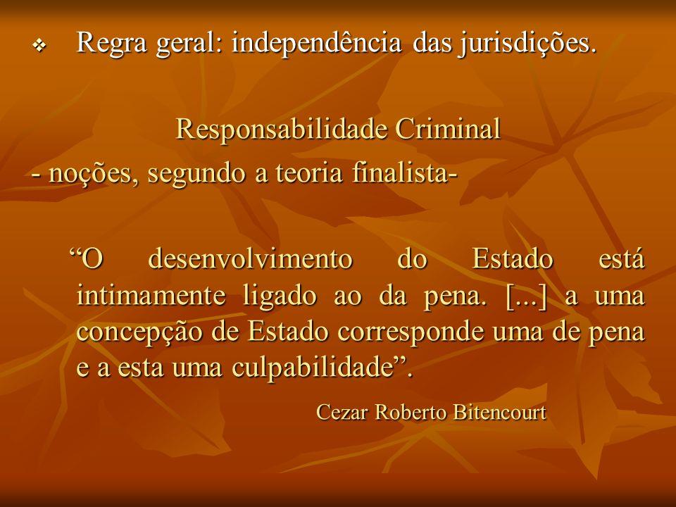 Regra geral: independência das jurisdições. Regra geral: independência das jurisdições. Responsabilidade Criminal - noções, segundo a teoria finalista