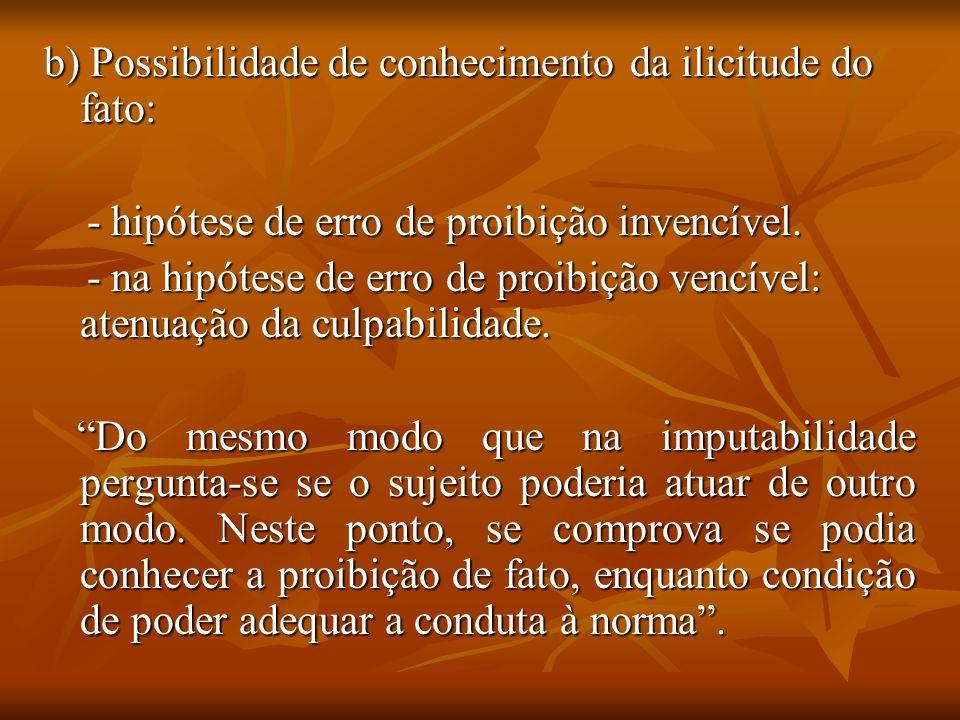 b) Possibilidade de conhecimento da ilicitude do fato: - hipótese de erro de proibição invencível. - hipótese de erro de proibição invencível. - na hi