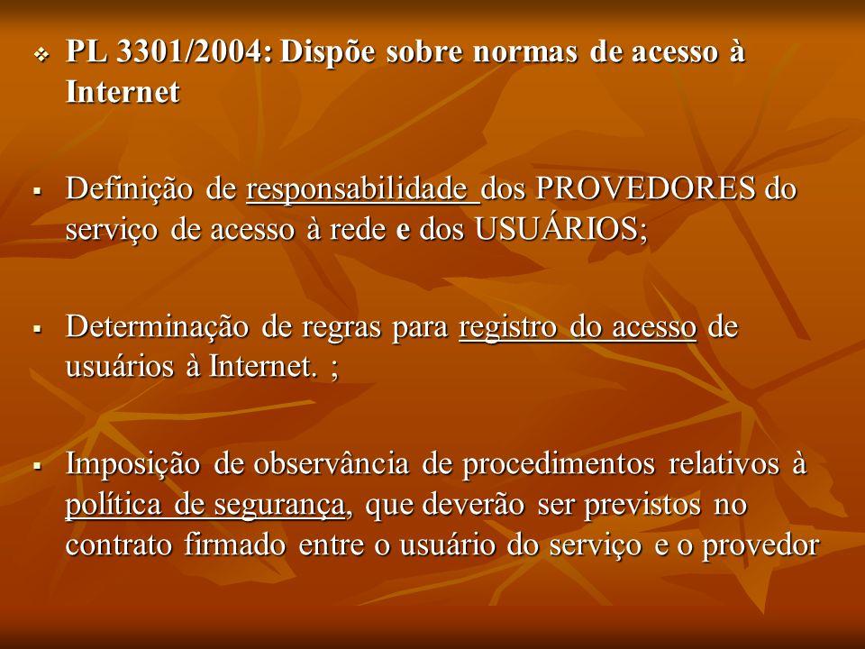 PL 3301/2004: Dispõe sobre normas de acesso à Internet PL 3301/2004: Dispõe sobre normas de acesso à Internet Definição de responsabilidade dos PROVED