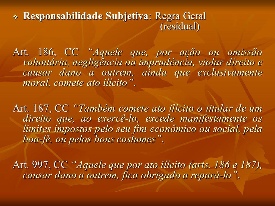Responsabilidade Subjetiva: Regra Geral (residual) Responsabilidade Subjetiva: Regra Geral (residual) Art. 186, CC Aquele que, por ação ou omissão vol