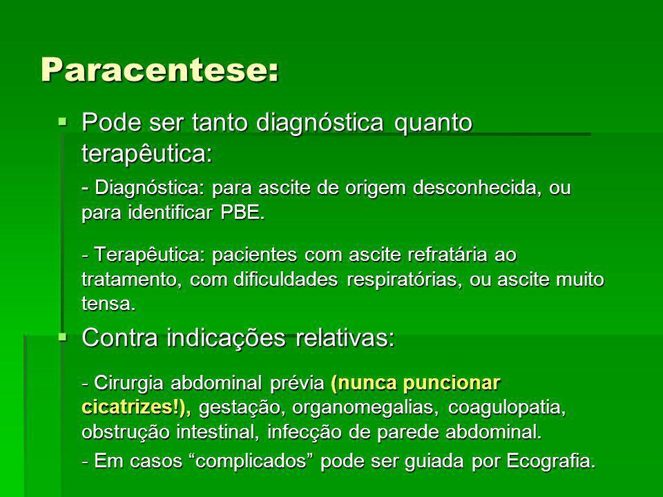 Paracentese: Pode ser tanto diagnóstica quanto terapêutica: Pode ser tanto diagnóstica quanto terapêutica: - Diagnóstica: para ascite de origem descon