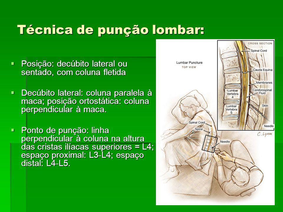 Técnica de punção lombar: Posição: decúbito lateral ou sentado, com coluna fletida Posição: decúbito lateral ou sentado, com coluna fletida Decúbito l