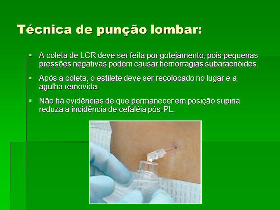 Técnica de punção lombar: A coleta de LCR deve ser feita por gotejamento, pois pequenas pressões negativas podem causar hemorragias subaracnóides. A c