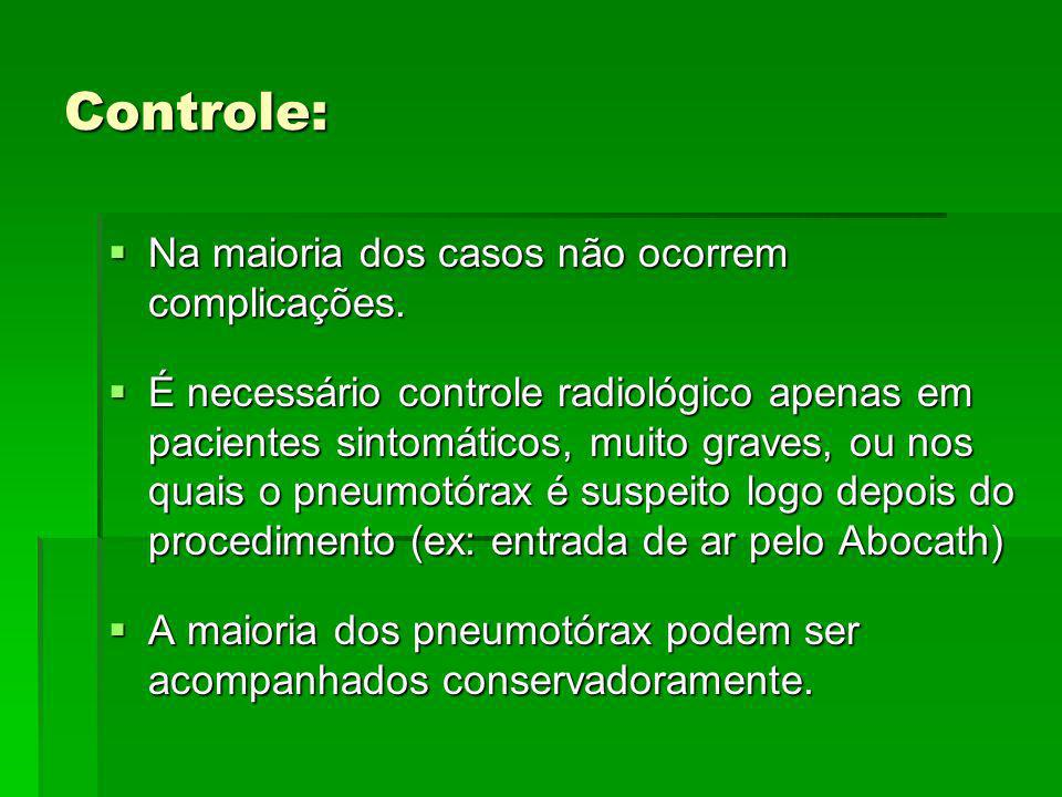 Controle: Na maioria dos casos não ocorrem complicações. Na maioria dos casos não ocorrem complicações. É necessário controle radiológico apenas em pa