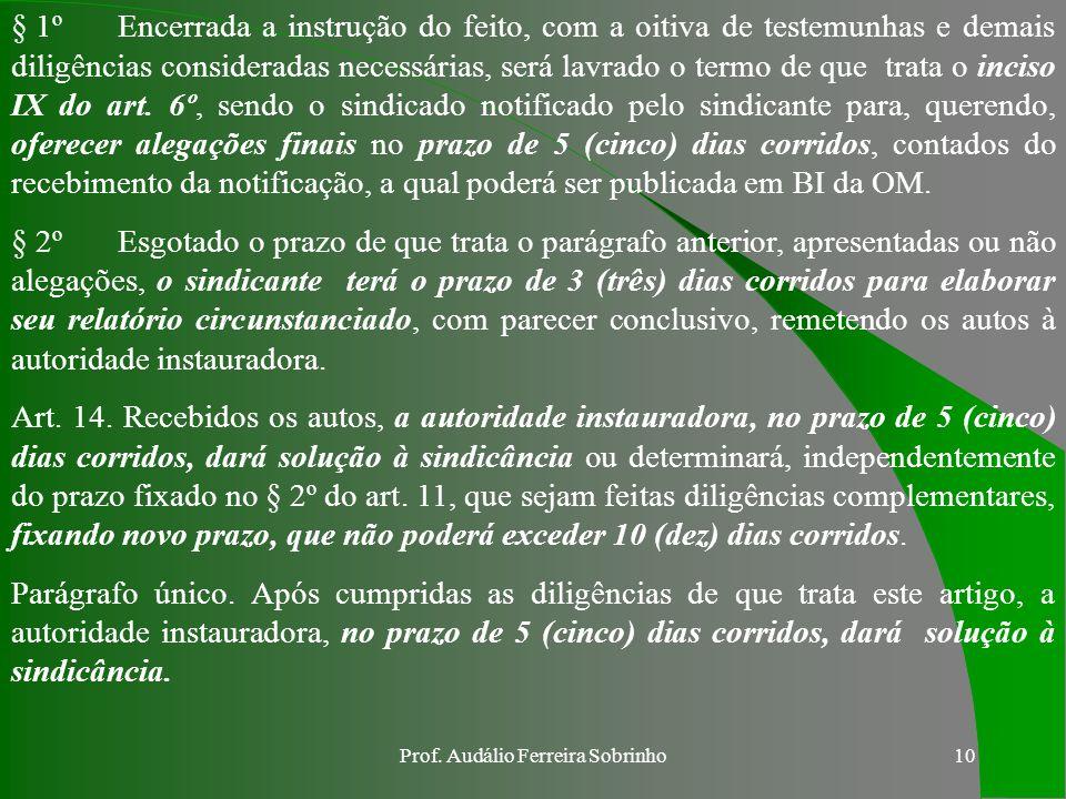 Prof. Audálio Ferreira Sobrinho9 § 1ºA solicitação de prorrogação de prazo deve ser feita, no mínimo, 48 (quarenta e oito) horas antes do término daqu