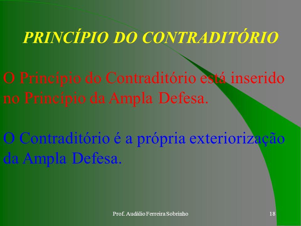 Prof. Audálio Ferreira Sobrinho17 PRINCÍPIO DO CONTRADITÓRIO É a garantia constitucional que assegura a ampla defesa do autor e do réu, em igualdade d