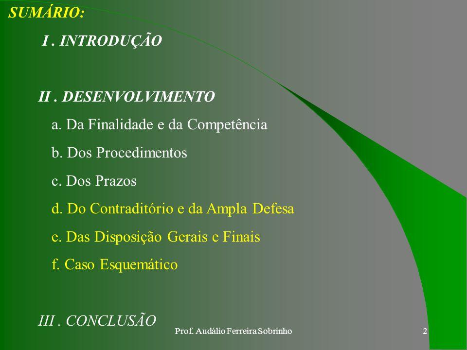 Prof.Audálio Ferreira Sobrinho2 SUMÁRIO: I. INTRODUÇÃO II.