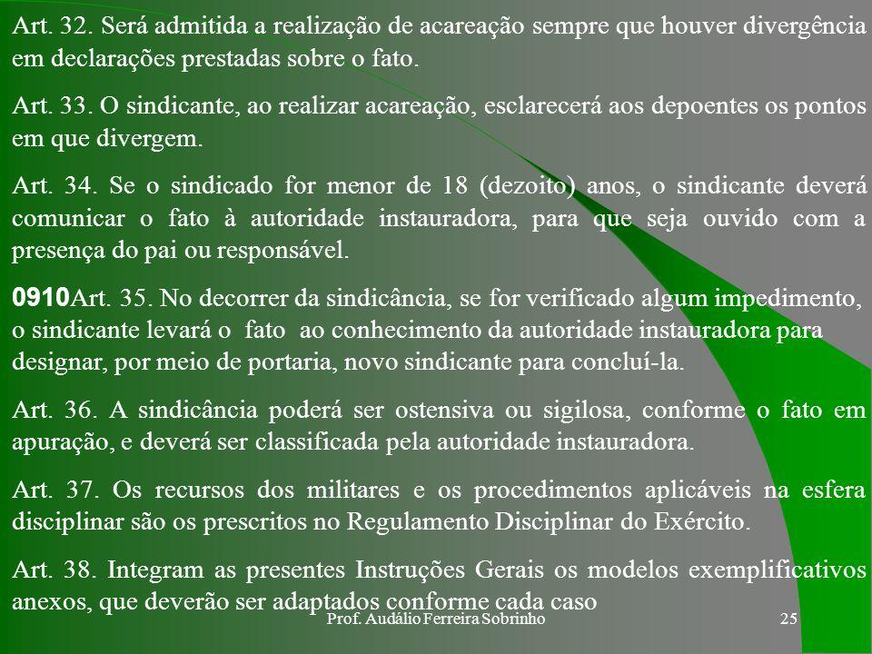 Prof. Audálio Ferreira Sobrinho24 Art. 27. Constará da precatória, o ofício com pedido de inquirição, a cópia da portaria de instauração da sindicânci