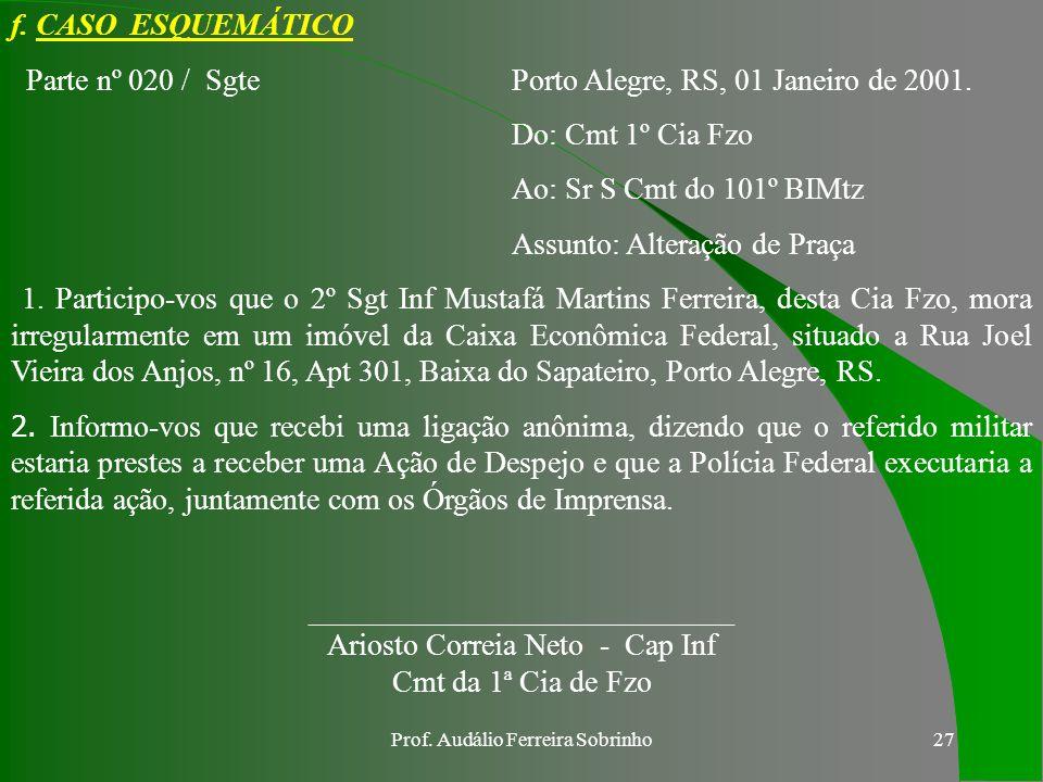 Prof. Audálio Ferreira Sobrinho26 APURAÇÃO COMUM Ouvir o acusado de ter cometido a transgressão; Comunicar ao mesmo que, segundo o seu direito de ampl