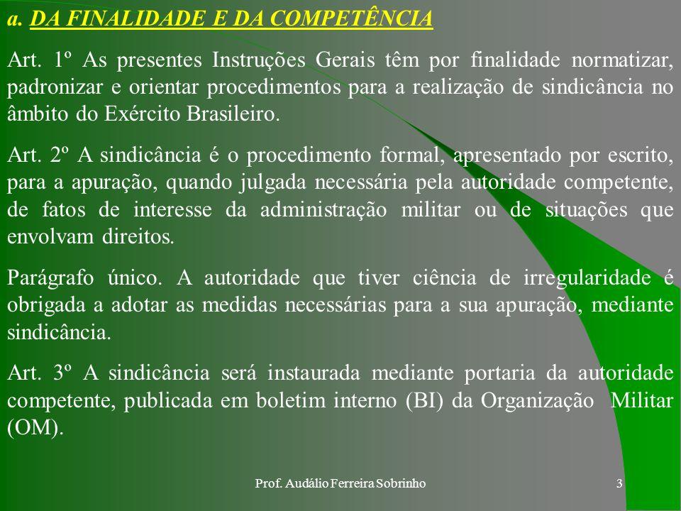 Prof.Audálio Ferreira Sobrinho3 a. DA FINALIDADE E DA COMPETÊNCIA Art.