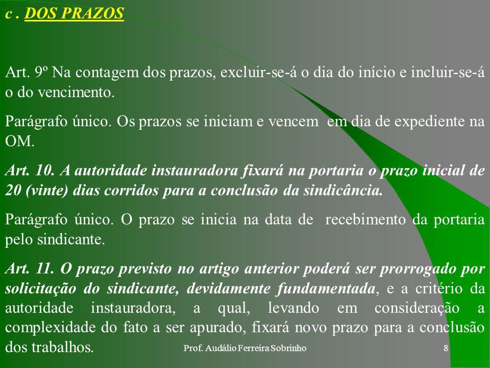 Prof.Audálio Ferreira Sobrinho8 c. DOS PRAZOS Art.