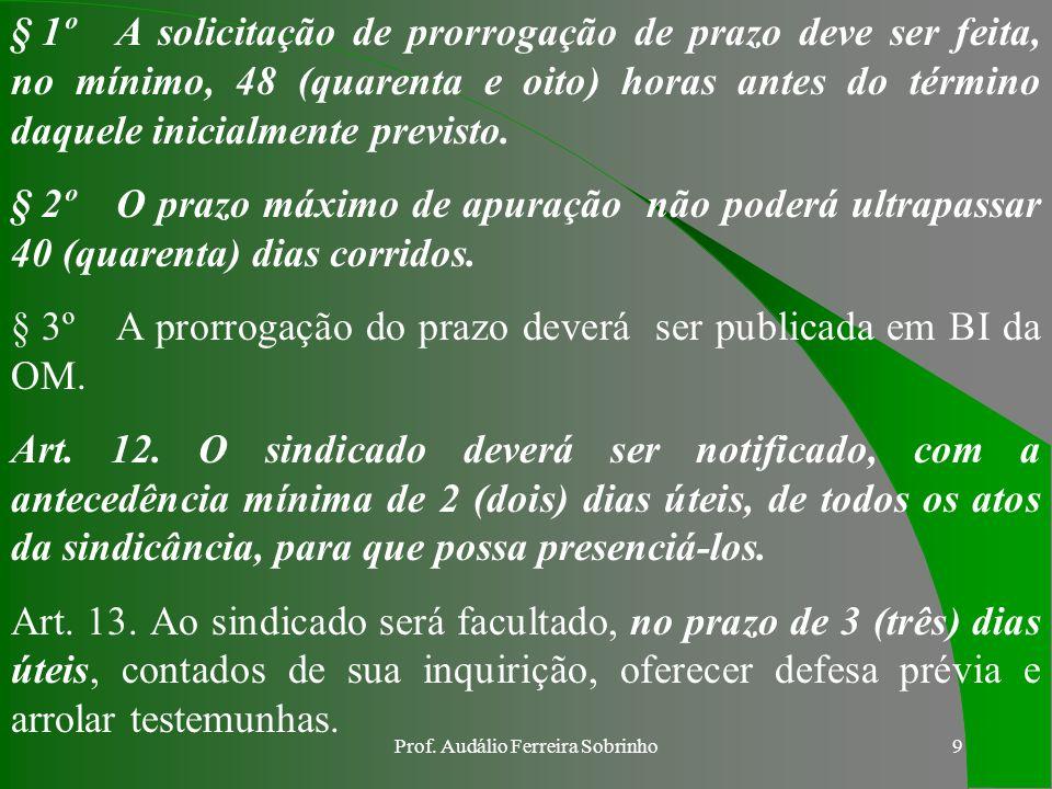 Prof. Audálio Ferreira Sobrinho8 c. DOS PRAZOS Art. 9º Na contagem dos prazos, excluir-se-á o dia do início e incluir-se-á o do vencimento. Parágrafo