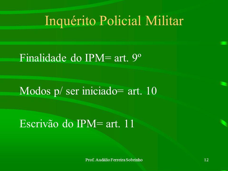 Prof. Audálio Ferreira Sobrinho11 Competência da Polícia Judiciária Militar art. 8º Compete à polícia judiciária militar: a) apurar os crimes militare