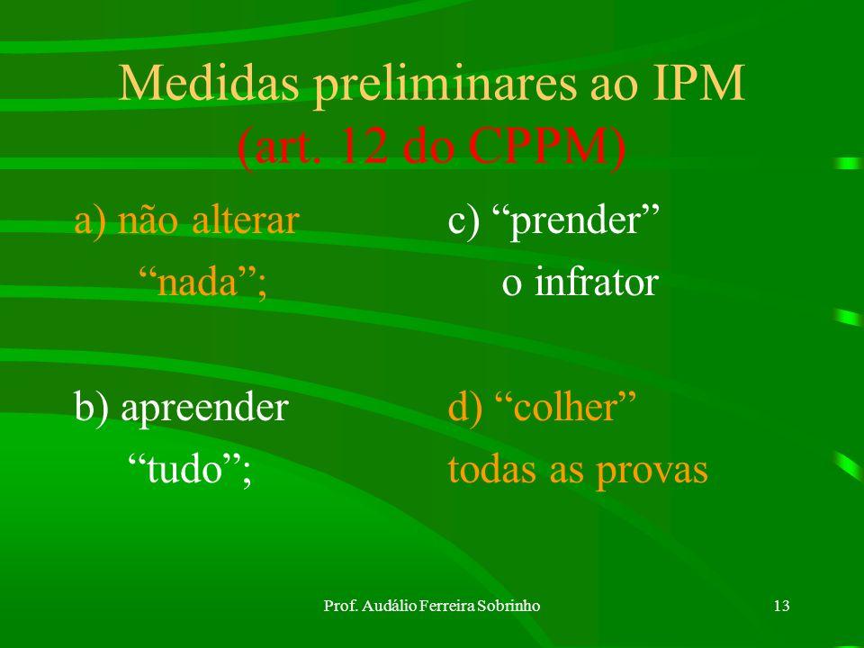 Prof. Audálio Ferreira Sobrinho12 Inquérito Policial Militar Finalidade do IPM= art. 9º Modos p/ ser iniciado= art. 10 Escrivão do IPM= art. 11