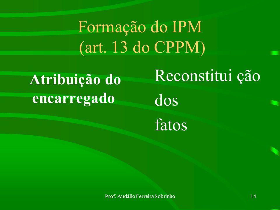 Prof. Audálio Ferreira Sobrinho13 Medidas preliminares ao IPM (art. 12 do CPPM) a) não alterar nada; b) apreender tudo; c) prender o infrator d) colhe