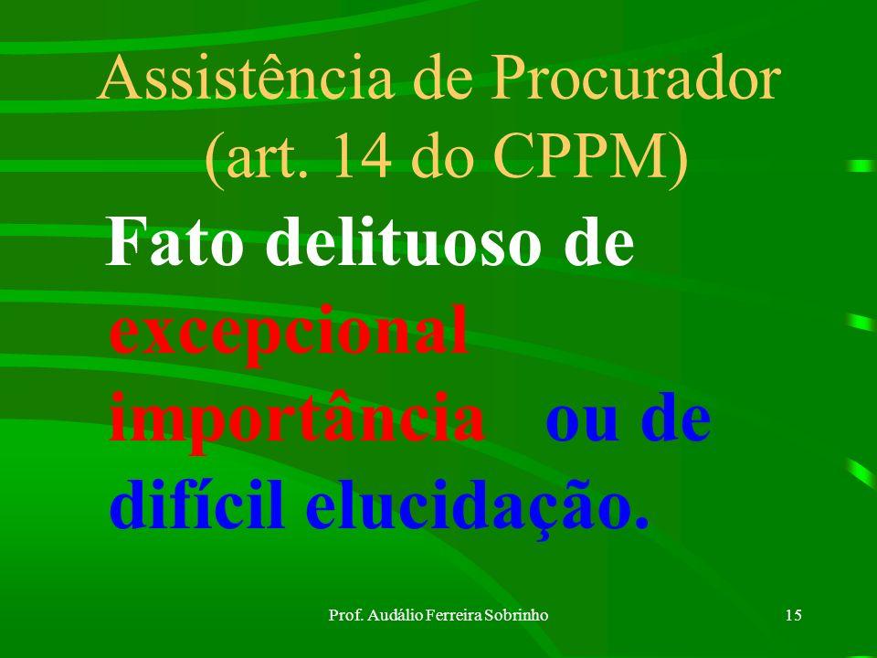 Prof. Audálio Ferreira Sobrinho14 Formação do IPM (art. 13 do CPPM) Atribuição do encarregado Reconstitui ção dos fatos
