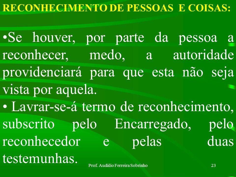Prof. Audálio Ferreira Sobrinho22 RECONHECIMENTO DE PESSOAS E COISAS: A pessoa que tiver de fazer o reconhecimento será obrigada a descrever a pessoa