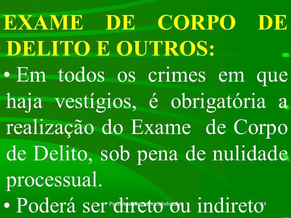 Prof. Audálio Ferreira Sobrinho23 RECONHECIMENTO DE PESSOAS E COISAS: Se houver, por parte da pessoa a reconhecer, medo, a autoridade providenciará pa