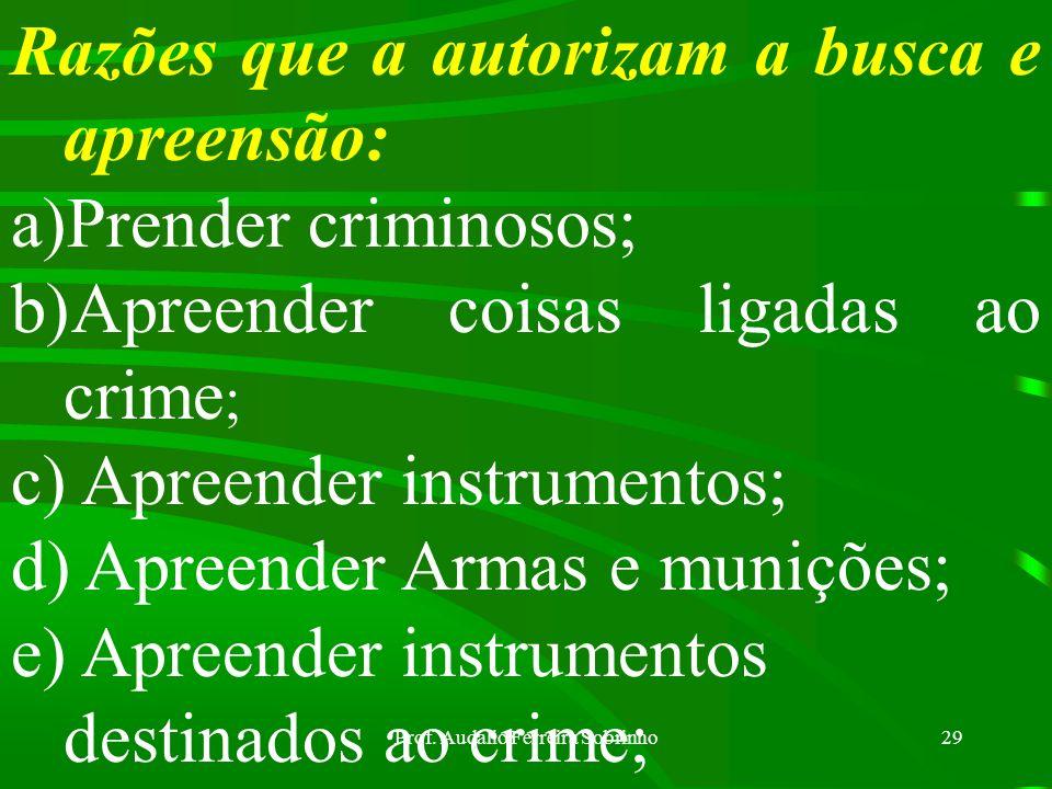 Prof. Audálio Ferreira Sobrinho28 BUSCA E APREENSÃO: Poderá ser domiciliar ou pessoal Domiciliar: consistirá na procura material, portas adentro da ca