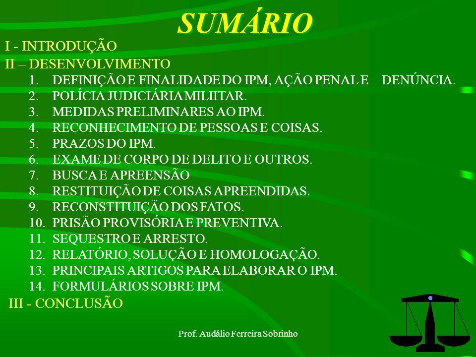 Prof.Audálio Ferreira Sobrinho13 Medidas preliminares ao IPM (art.