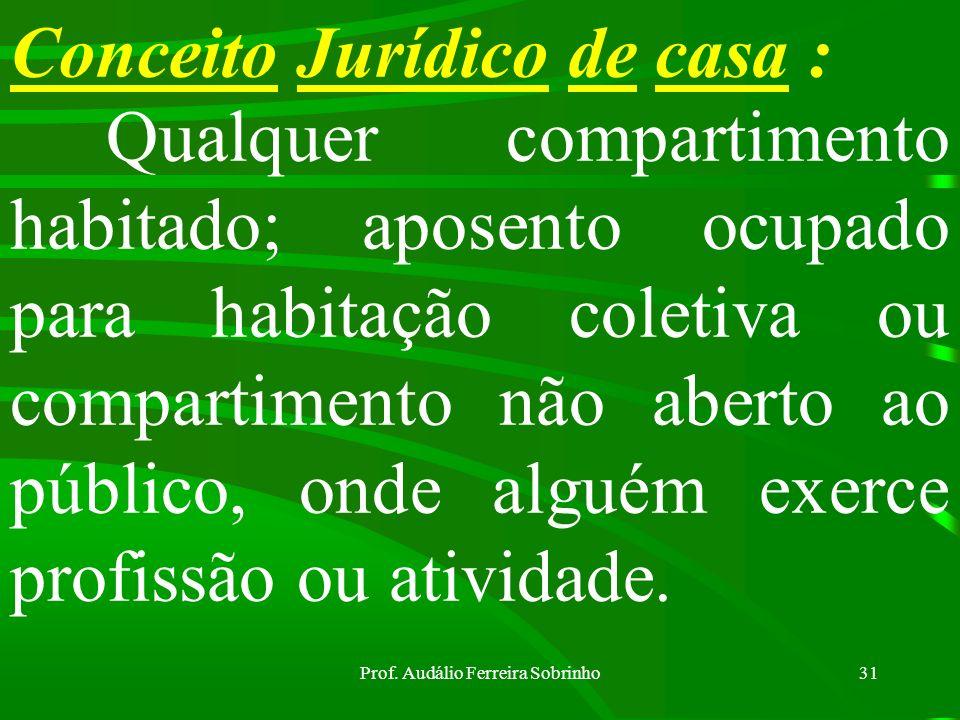 Prof. Audálio Ferreira Sobrinho30 Razões que a autorizam a busca e apreensão: f) Descobrir objetos necessários à prova do fato ou a defesa do acusado;