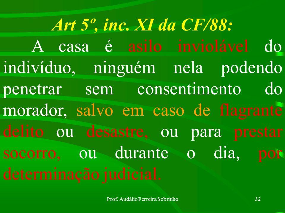 Prof. Audálio Ferreira Sobrinho31 Conceito Jurídico de casa : Qualquer compartimento habitado; aposento ocupado para habitação coletiva ou compartimen