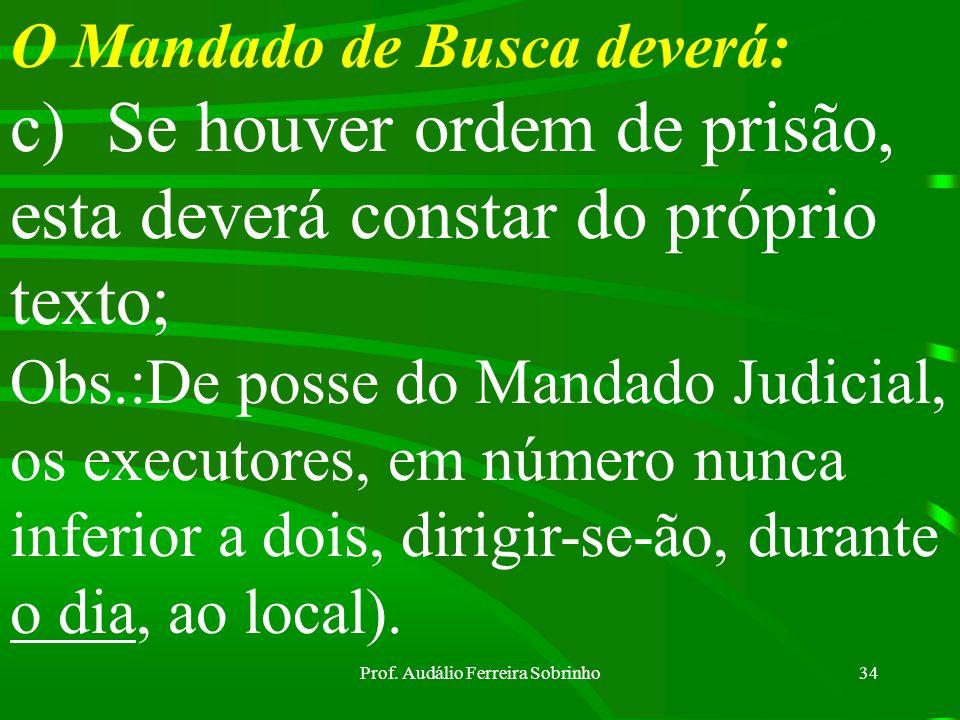 Prof. Audálio Ferreira Sobrinho33 O Mandado de Busca deverá: a)Indicar a casa em que será esta realizada, com o nome do morador ou proprietário. No ca