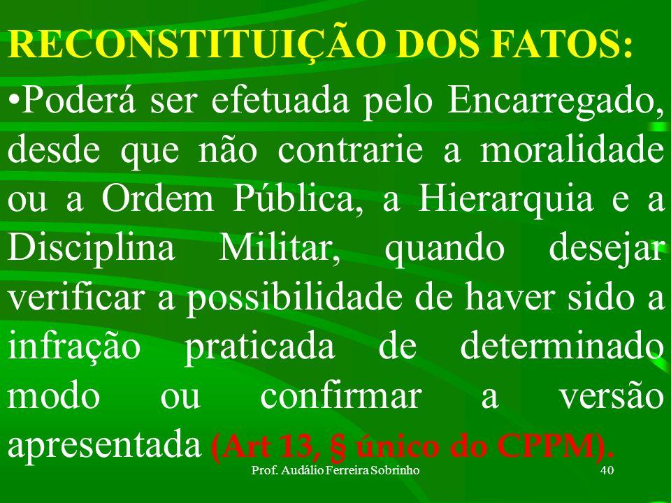 Prof. Audálio Ferreira Sobrinho39 RESTITUIÇÃO DE COISAS APREENDIDAS: As coisas não poderão ser restituídas enquanto interessarem ao Inquérito, sendo q