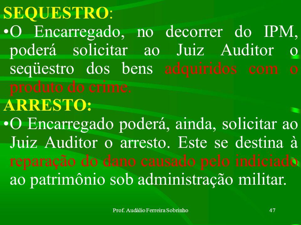 Prof. Audálio Ferreira Sobrinho46 Casos de Decretação da Prisão Preventiva (Art 255 do CPPM): a) Garantia da Ordem Pública; b) Conveniência da instruç