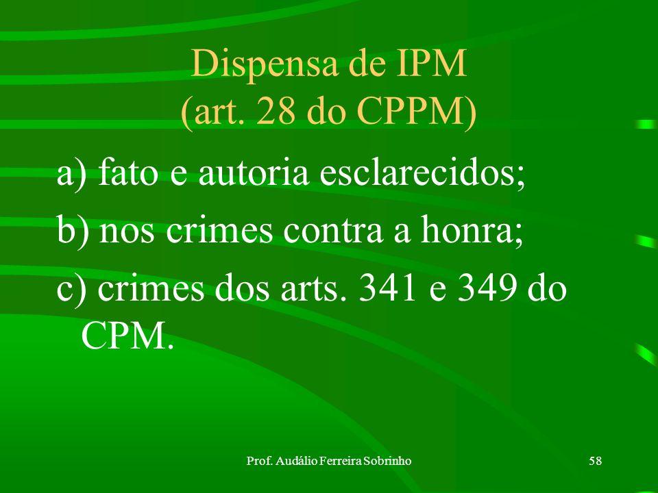Prof. Audálio Ferreira Sobrinho57 IPM Proibição de arquivamento : art. 24 do CPPM Novo IPM : art. 25 do CPPM Devolução do IPM : art. 26 do CPPM