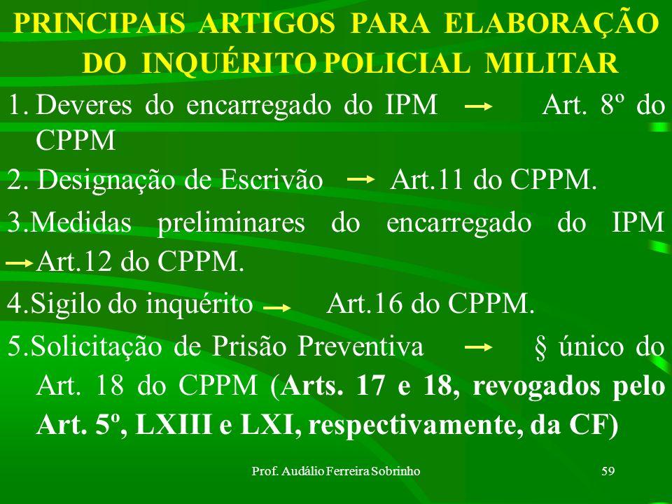 Prof. Audálio Ferreira Sobrinho58 Dispensa de IPM (art. 28 do CPPM) a) fato e autoria esclarecidos; b) nos crimes contra a honra; c) crimes dos arts.