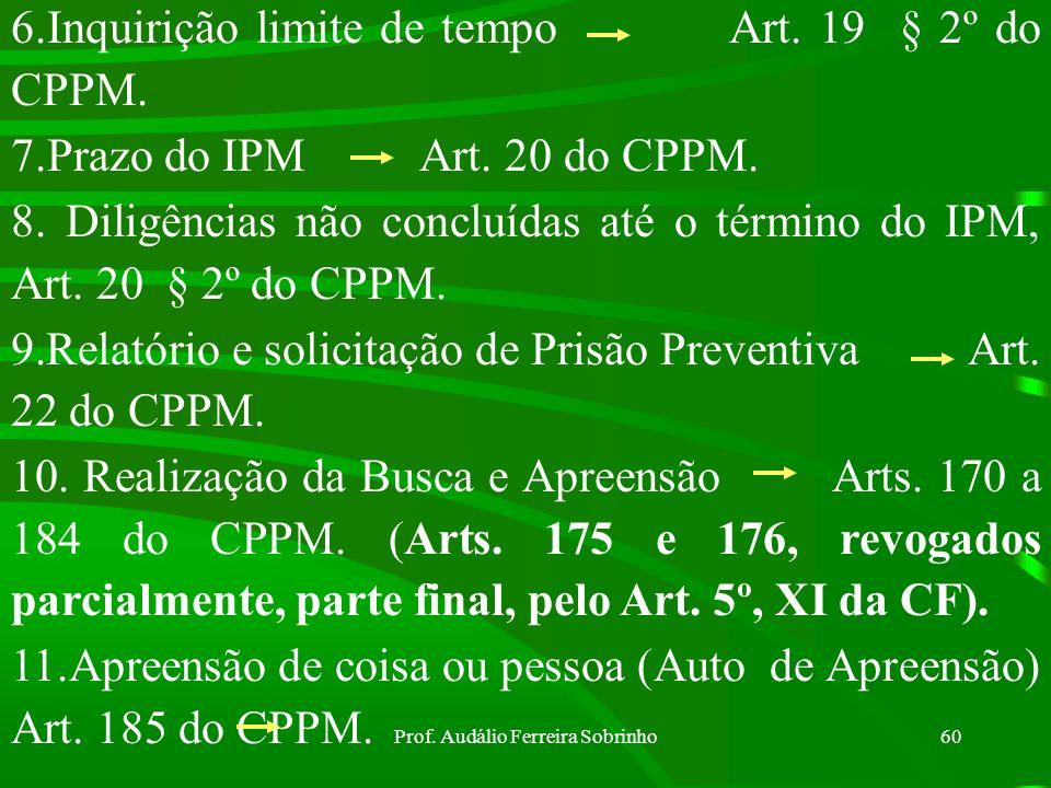 Prof. Audálio Ferreira Sobrinho59 PRINCIPAIS ARTIGOS PARA ELABORAÇÃO DO INQUÉRITO POLICIAL MILITAR 1.Deveres do encarregado do IPM Art. 8º do CPPM 2.