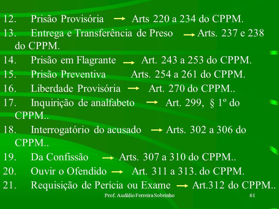 Prof. Audálio Ferreira Sobrinho60 6.Inquirição limite de tempo Art. 19 § 2º do CPPM. 7.Prazo do IPM Art. 20 do CPPM. 8. Diligências não concluídas até