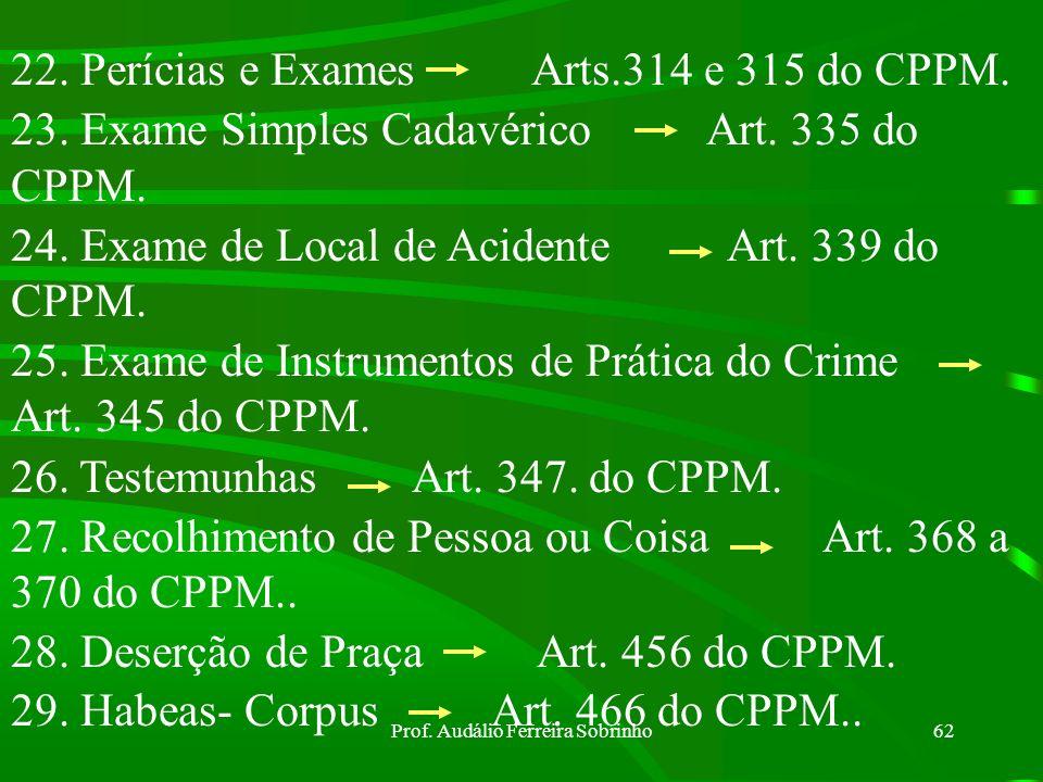 Prof. Audálio Ferreira Sobrinho61 12. Prisão Provisória Arts 220 a 234 do CPPM. 13. Entrega e Transferência de Preso Arts. 237 e 238 do CPPM. 14. Pris