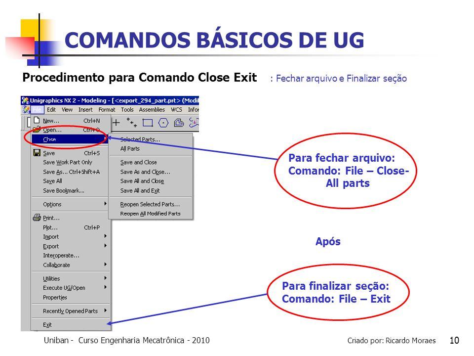 Uniban - Curso Engenharia Mecatrônica - 2010 Criado por: Ricardo Moraes 10 COMANDOS BÁSICOS DE UG : Fechar arquivo e Finalizar seção Para fechar arqui