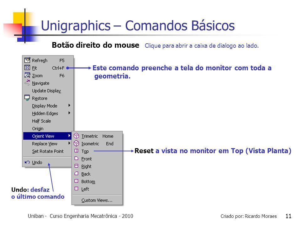 Uniban - Curso Engenharia Mecatrônica - 2010 Criado por: Ricardo Moraes 11 Botão direito do mouse Clique para abrir a caixa de dialogo ao lado. Este c