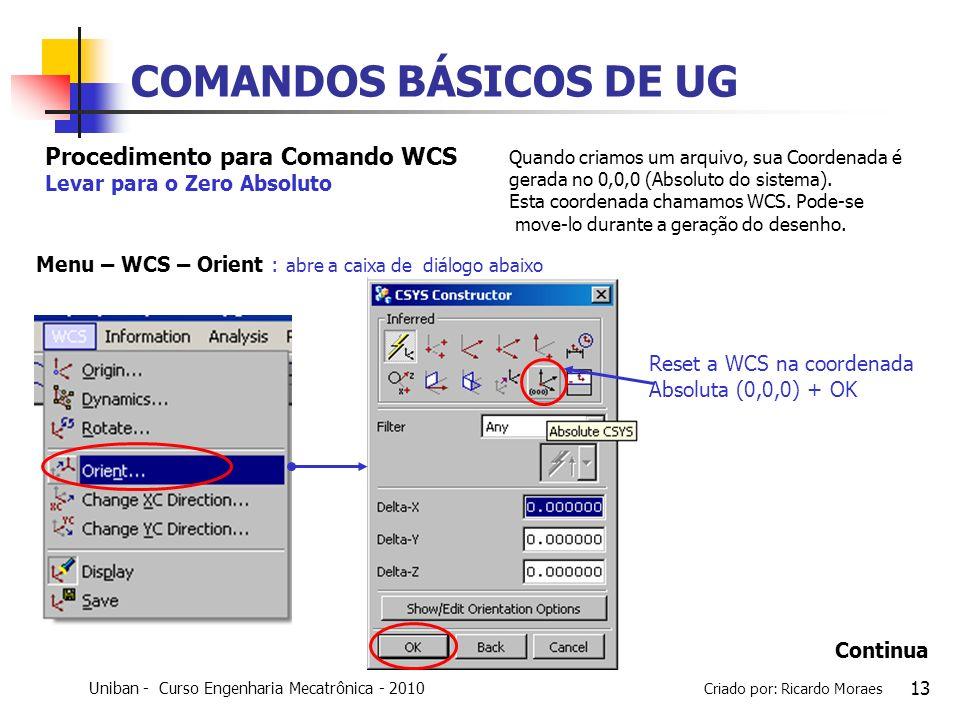 Uniban - Curso Engenharia Mecatrônica - 2010 Criado por: Ricardo Moraes 13 COMANDOS BÁSICOS DE UG Reset a WCS na coordenada Absoluta (0,0,0) + OK Proc