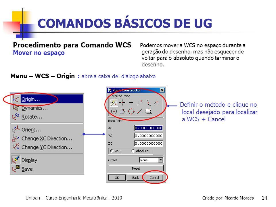 Uniban - Curso Engenharia Mecatrônica - 2010 Criado por: Ricardo Moraes 14 COMANDOS BÁSICOS DE UG Definir o método e clique no local desejado para loc