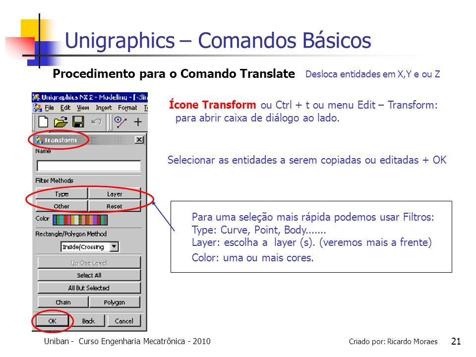 Uniban - Curso Engenharia Mecatrônica - 2010 Criado por: Ricardo Moraes 21 Selecionar as entidades a serem copiadas ou editadas + OK Procedimento para