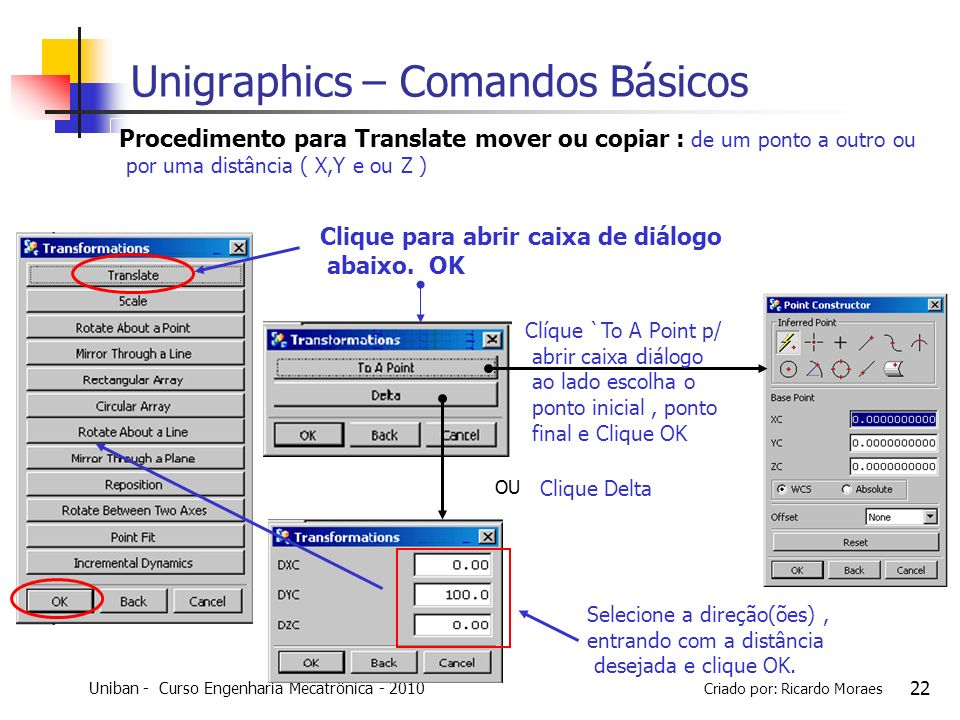 Uniban - Curso Engenharia Mecatrônica - 2010 Criado por: Ricardo Moraes 22 Procedimento para Translate mover ou copiar : de um ponto a outro ou por um