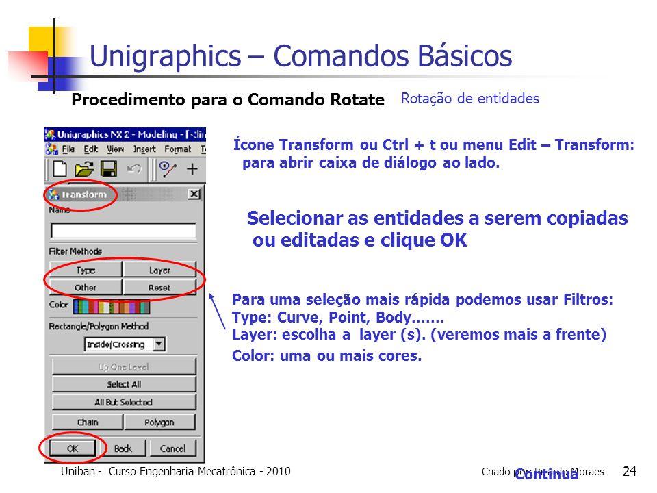 Uniban - Curso Engenharia Mecatrônica - 2010 Criado por: Ricardo Moraes 24 Selecionar as entidades a serem copiadas ou editadas e clique OK Procedimen