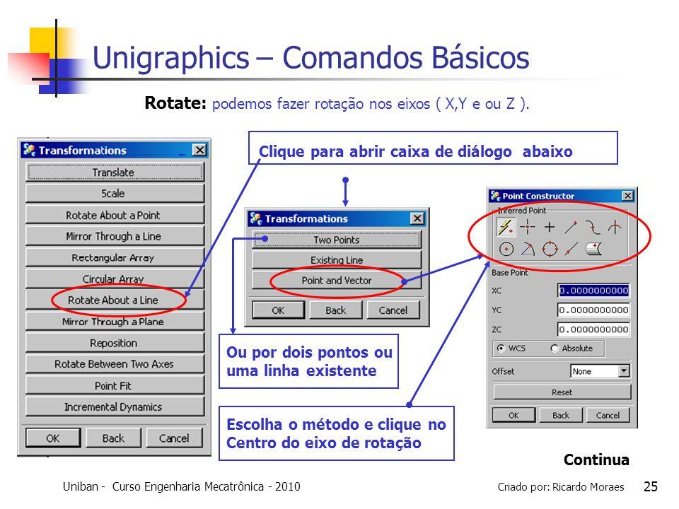 Uniban - Curso Engenharia Mecatrônica - 2010 Criado por: Ricardo Moraes 25 Clique para abrir caixa de diálogo abaixo Rotate: podemos fazer rotação nos