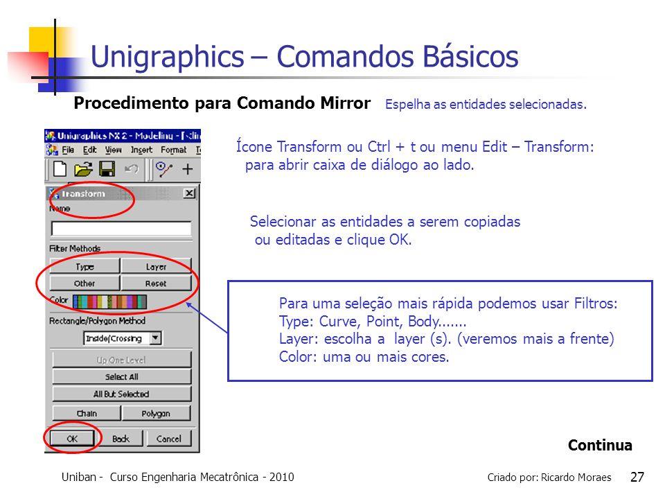 Uniban - Curso Engenharia Mecatrônica - 2010 Criado por: Ricardo Moraes 27 Selecionar as entidades a serem copiadas ou editadas e clique OK. Procedime
