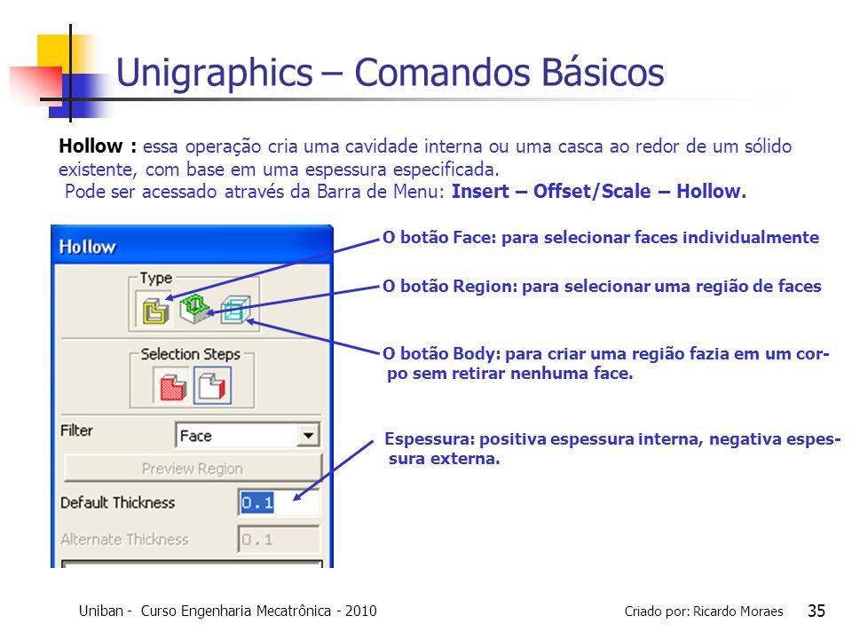 Uniban - Curso Engenharia Mecatrônica - 2010 Criado por: Ricardo Moraes 35 Unigraphics – Comandos Básicos Hollow : essa operação cria uma cavidade int