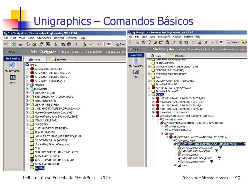 Uniban - Curso Engenharia Mecatrônica - 2010 Criado por: Ricardo Moraes 40 Unigraphics – Comandos Básicos