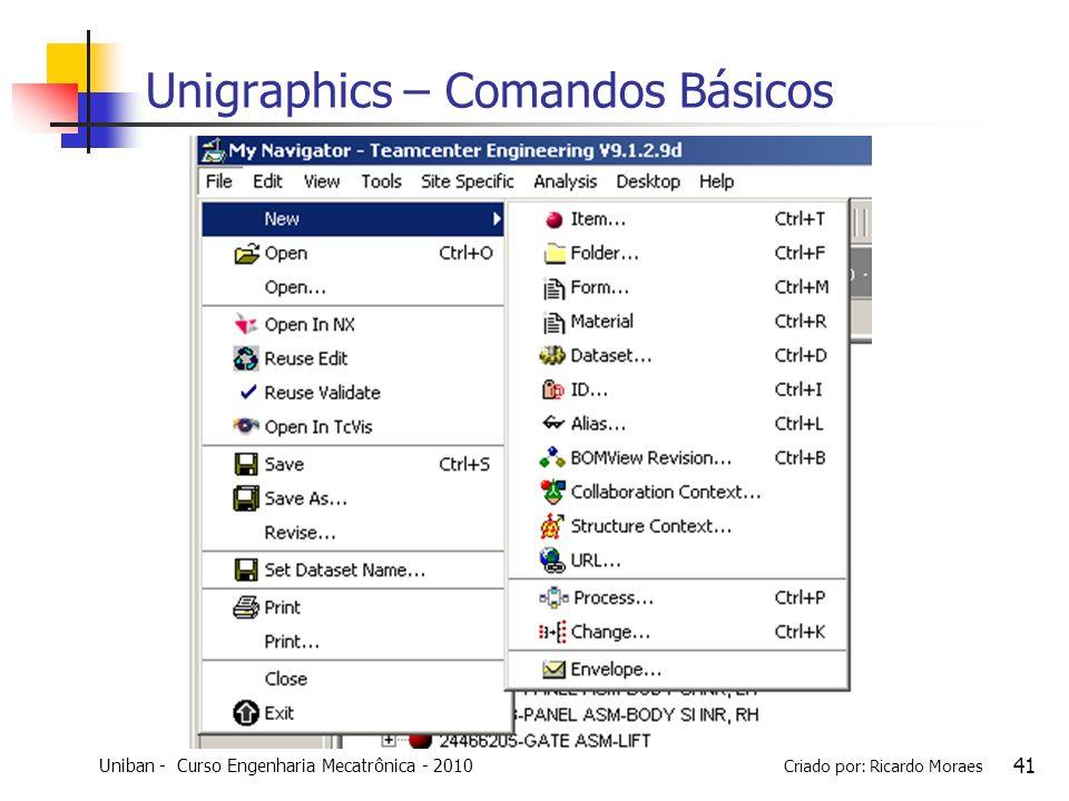 Uniban - Curso Engenharia Mecatrônica - 2010 Criado por: Ricardo Moraes 41 Unigraphics – Comandos Básicos