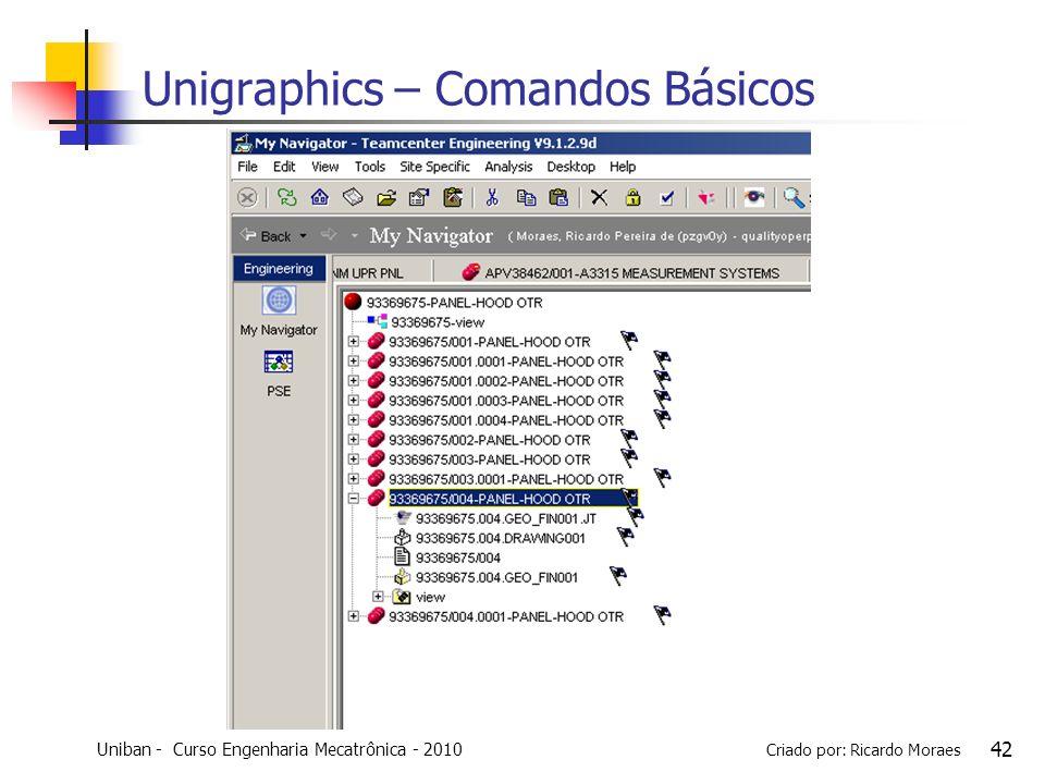 Uniban - Curso Engenharia Mecatrônica - 2010 Criado por: Ricardo Moraes 42 Unigraphics – Comandos Básicos