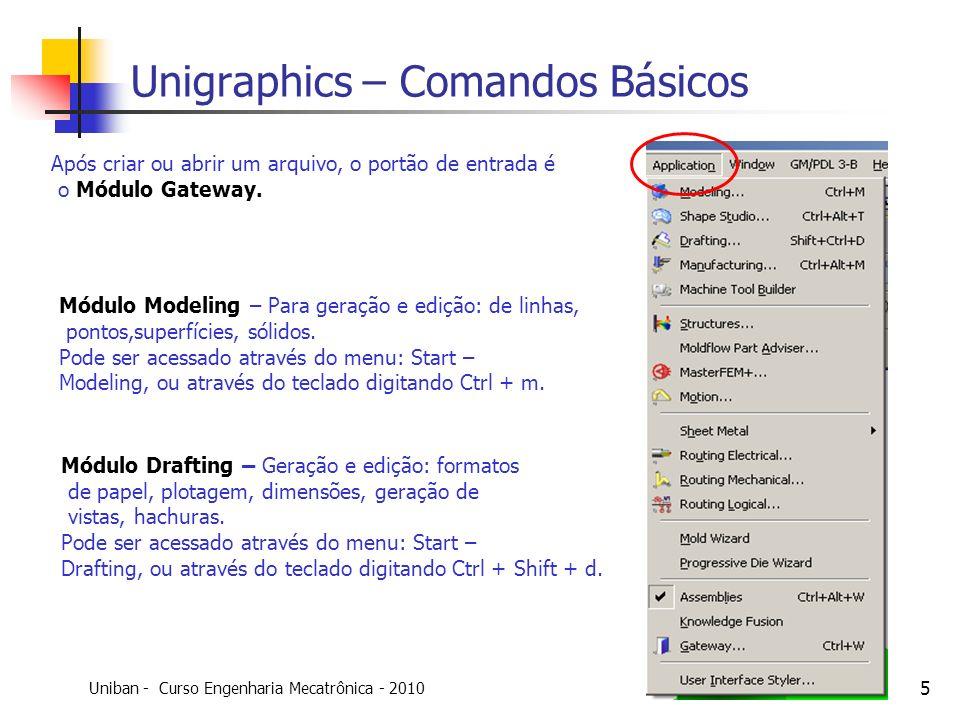 Uniban - Curso Engenharia Mecatrônica - 2010 Criado por: Ricardo Moraes 5 Módulo Modeling – Para geração e edição: de linhas, pontos,superfícies, sóli